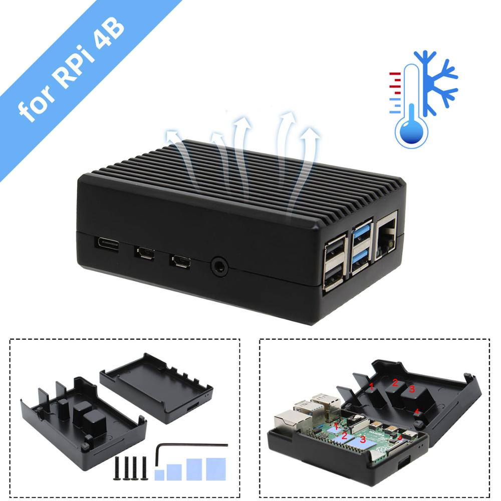 Raspberry Pi 4 Aluminum Alloy Passive Cooling Heat Dissipation Enclosure Metal Case For Raspberry Pi 4 Model B Only