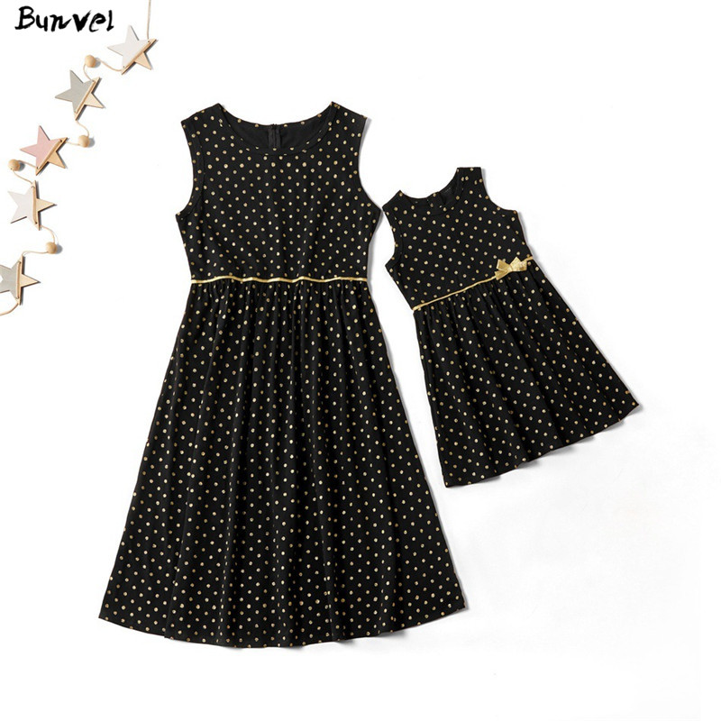 Bunvel Mother Daughter Dresses Sleeveless Dotting Print Kids Baby Girls Clothes 2020 Summer Mommy And Me Dress Party Outfits