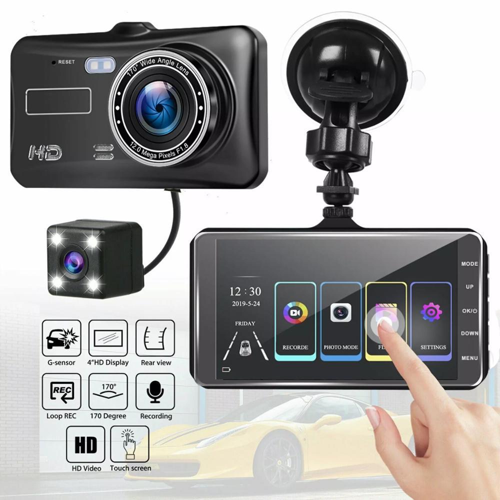 Видеорегистратор с двумя объективами, Автомобильный видеорегистратор, Full HD 1080P, 4 дюйма, сенсорный экран, IPS, с резервной задней камерой, видеорегистратор ночного видения|Видеорегистраторы|   | АлиЭкспресс