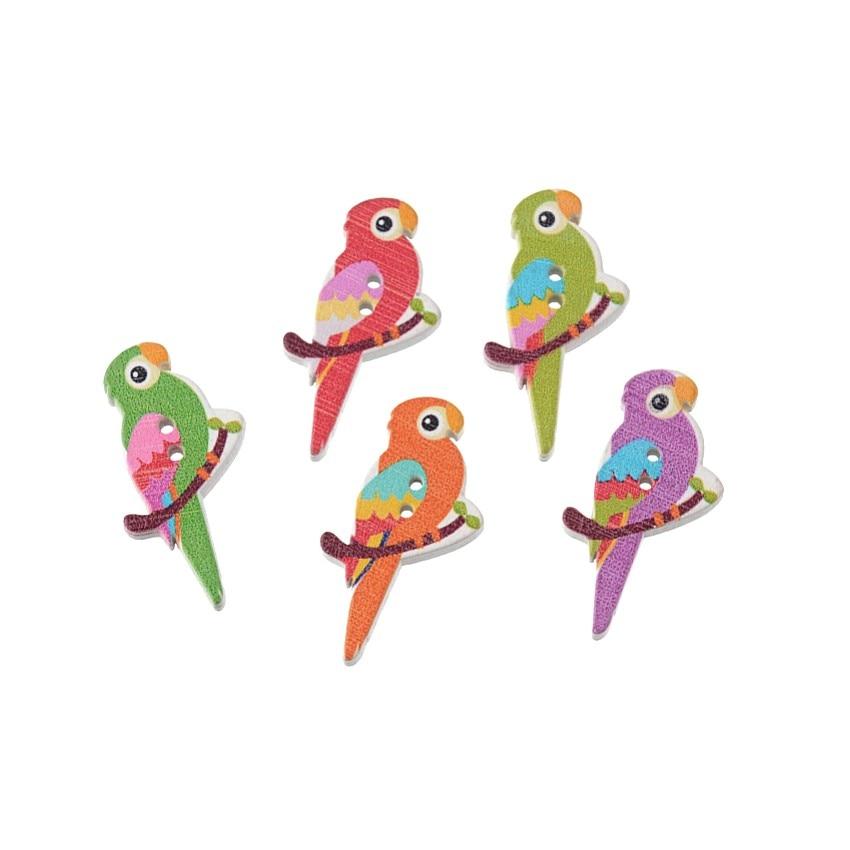 Бесплатная доставка, розничная продажа, 10 шт., случайный, смешанный, милый, попугаи, животные, 2 отверстия, деревянные пуговицы для скрапбукин...