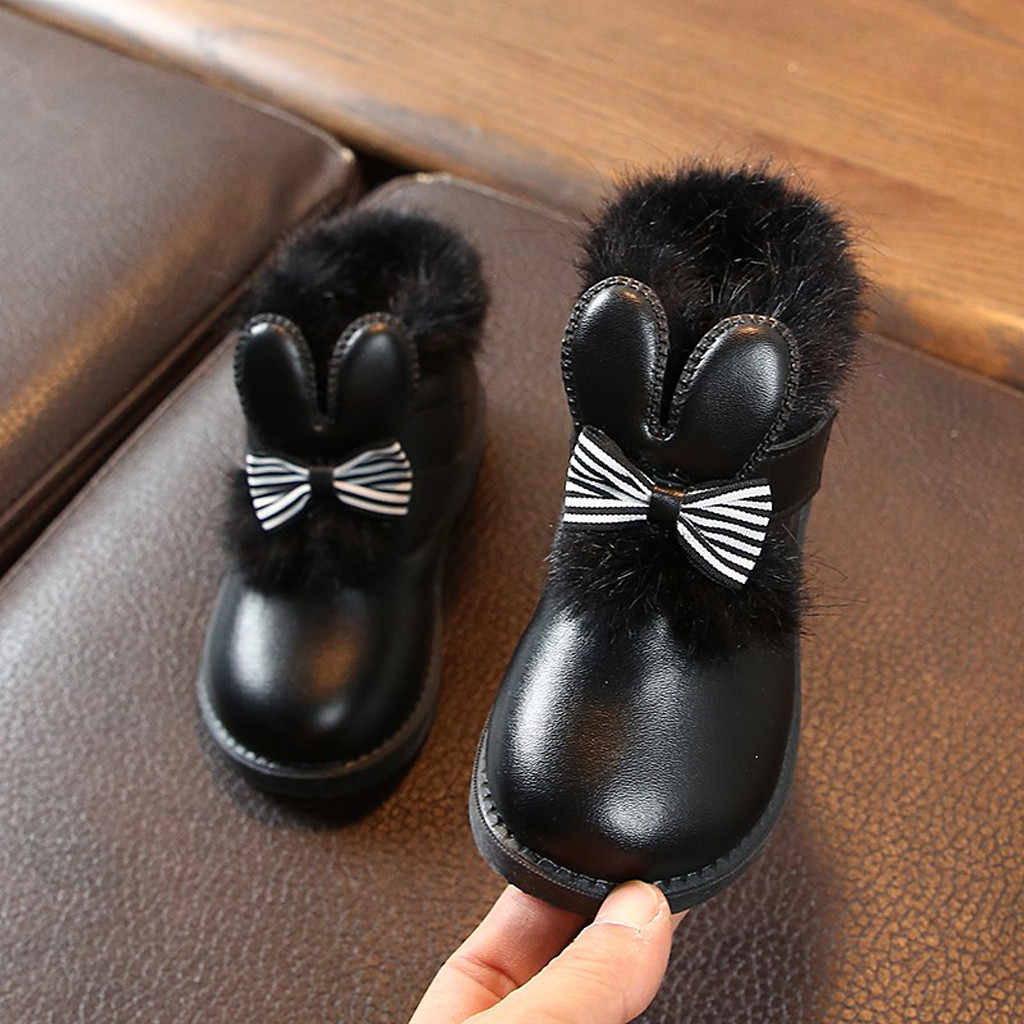 NEW Girls Leather Boots Boys Shoes Autumn Winter PU Leather Boot Children's Lightweight Bow British Plus Cotton Princess Booties