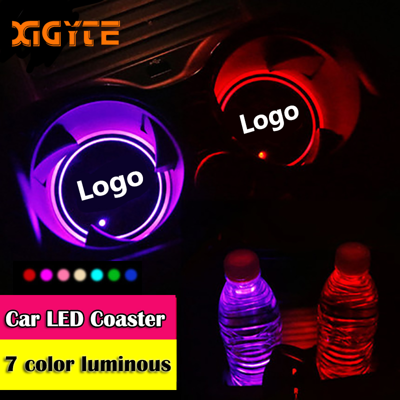 2pcs Led Car Cup Holder Logo Light For Toyota Nissan Ford Volkswagen Skoda Honda Mazda Hyundai KIA Luminous Coaster Accessories
