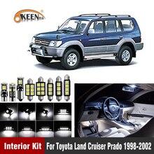 14pcs 화이트 Canbus W5W 자동차 LED 전구 인테리어 키트 도요타 랜드 크루저 프라도 1998 2002 맵 돔 램프 플러그 n 플레이
