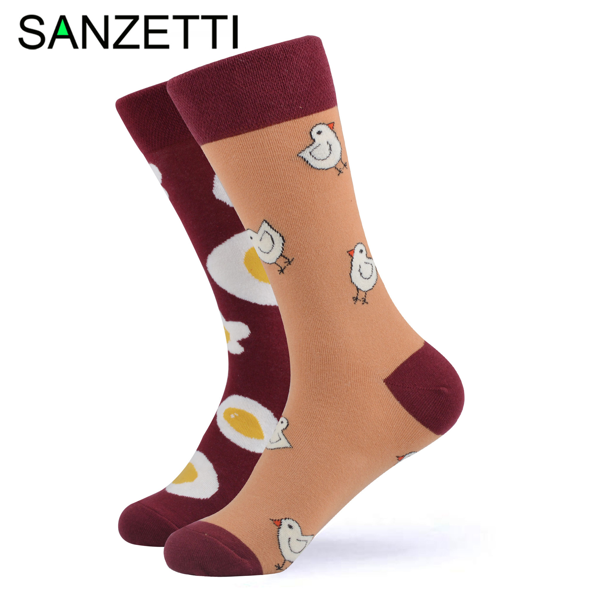 SANZETTI 1 Pair Colorful Bright Women Socks Novelty Combed Cotton Funny Party Pineapple Wine Egg Gifts Wedding Dress Happy Socks