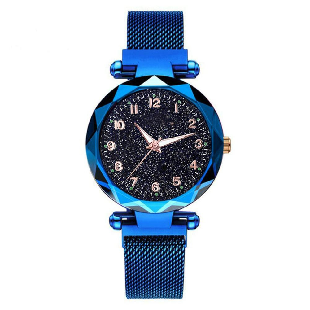 Casual Watches Luxury Blue Bright Starry Women Watches Arabic Numerals Stainless Steel Magnetic Clasp Strap Quartz Analog Watch
