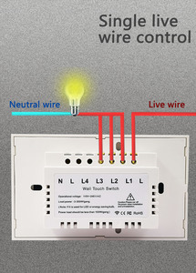Image 5 - Vovoway US Glass panel touch switch,light switch,RF 433MHZ wireless  control,1\2\3 Gang AC110V 220V,Family wall stick