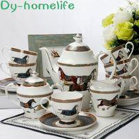 15 Piece European Phnom Penh War Horse Ceramic Coffee Tea Set Creative Household Bone China Pot Cup Saucer Coffee Set