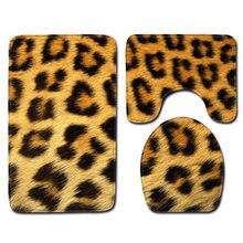 Tapis de toilette en cuir animal léopard tigre tapis de toilette en trois pièces tapis de salle de bain antidérapant