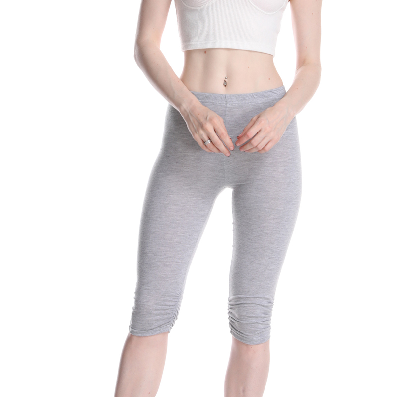 Casual Solid Crop Wide Waistband Cycling Short Leggings Summer Modern Lady Women Pants Trousers