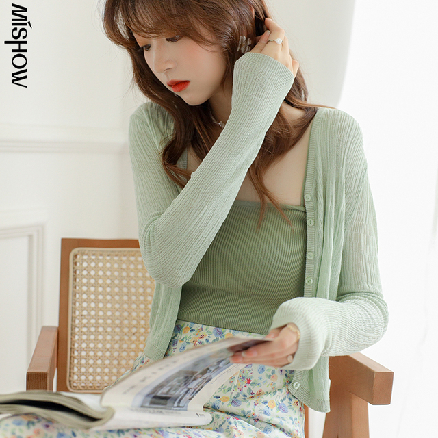 MISHOW Summer Cardigan Women Casual Transparent Solid Long Sleeve Fashion Thin Jacket Female Clothing MXA24Z0013 1