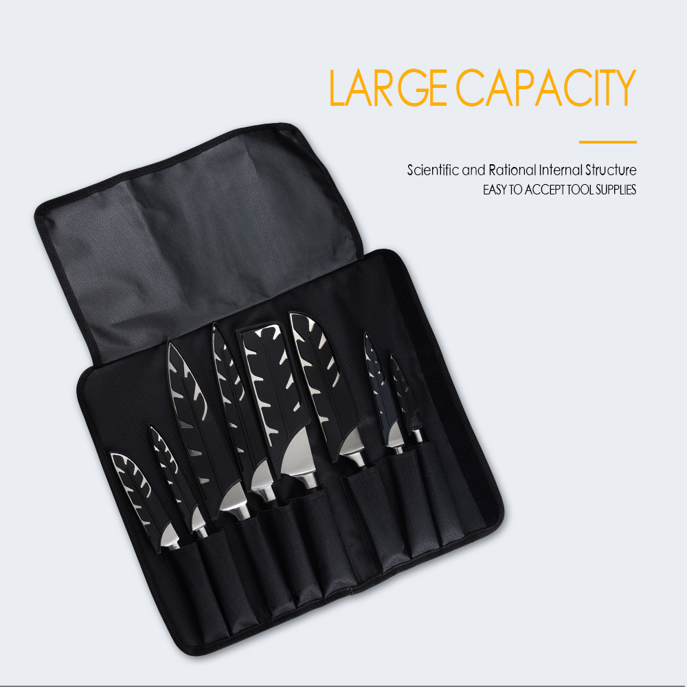 MYVI Black Canvas Knife Bag Oxford Roll Knives Bag 8 Pockets For Storage Kitchen Knives Tool Sharpener Bar Portable Durable Bags