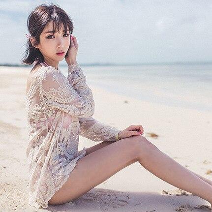Seaside Korean-style Bohemian Long Sleeve Crochet Casual Bikini Outer Blouse Bathing Suit Beach Outdoor
