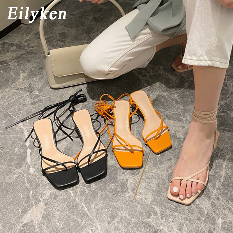 Eilyken New Fashion Women Sandals Low Thin Heel Lace Up Gladiator Sandal Summer Outdoor Strap Slides Narrow Band Zapatos Mujer