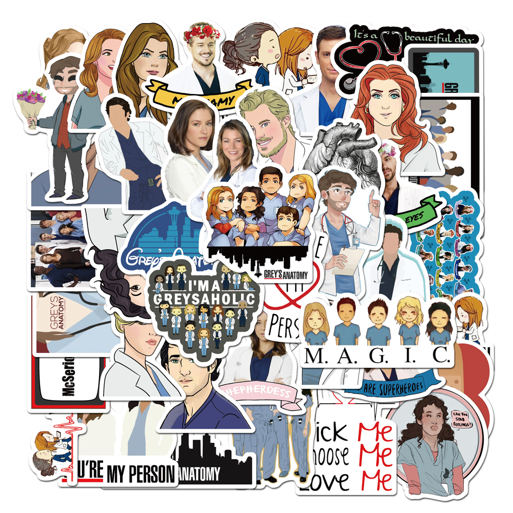 25Pcs New TV Riverdale/Grey's Anatomy/Stranger Things/Friends/ Stickers For Luggage Phone Laptop The Office Graffiti Stickers