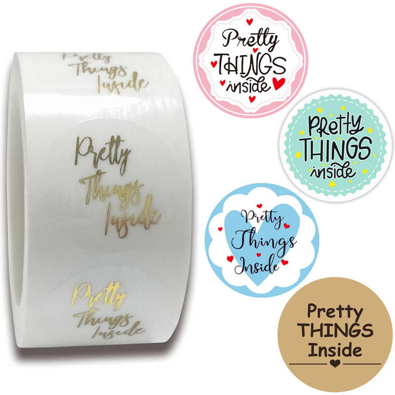 500* Pretty Things Inside Stickers Handmade Gold Foiled Business Thanks Labels