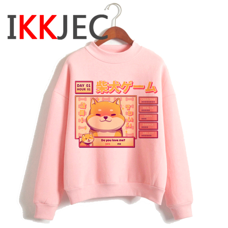 Shiba Inu Kawaii Dogs Funny Cartoon Grunge Aesthetic Hoodies Women Ladies Harajuku Cute Anime Sweatshirt Streetwear Hodoy Female 10