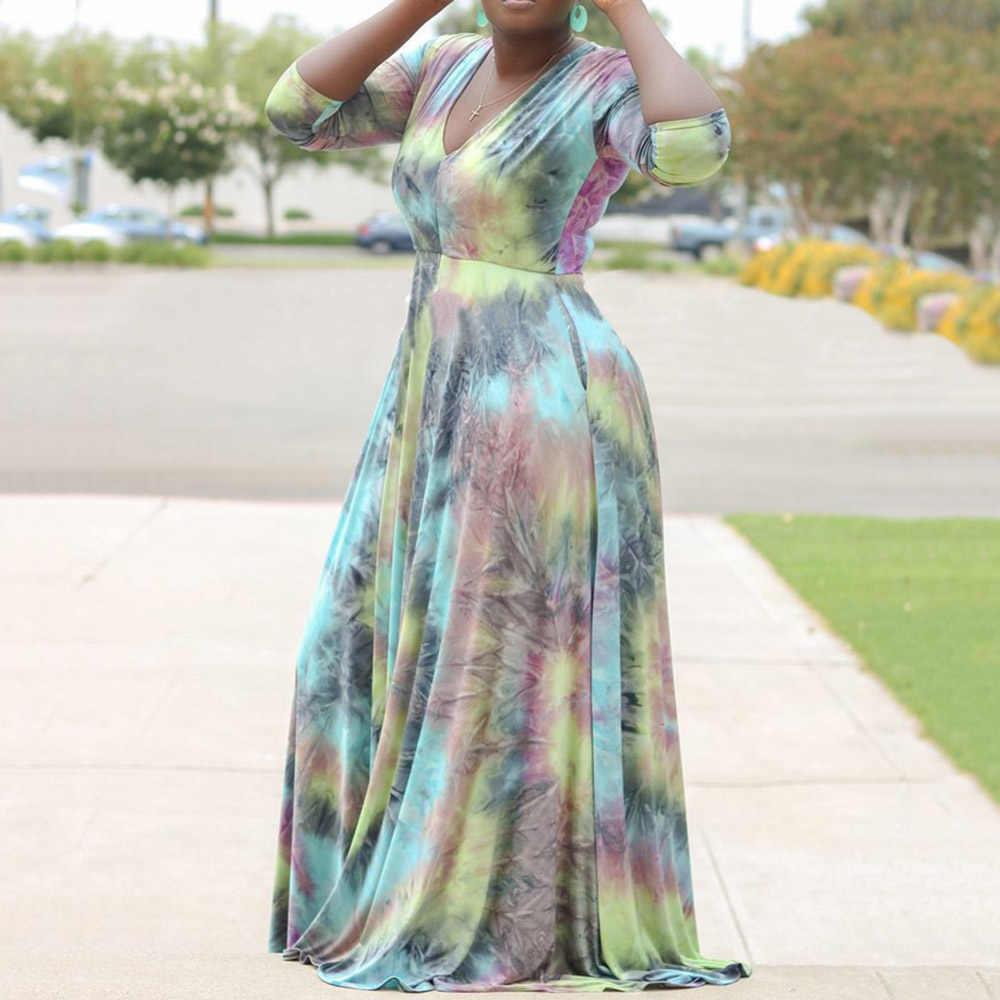 VINTAGE PLUS ขนาด 5XL พิมพ์แอฟริกันผู้หญิงเซ็กซี่ V คอฤดูใบไม้ร่วงฤดูร้อน Платье A-Line ยาว Robe Femme ชุด