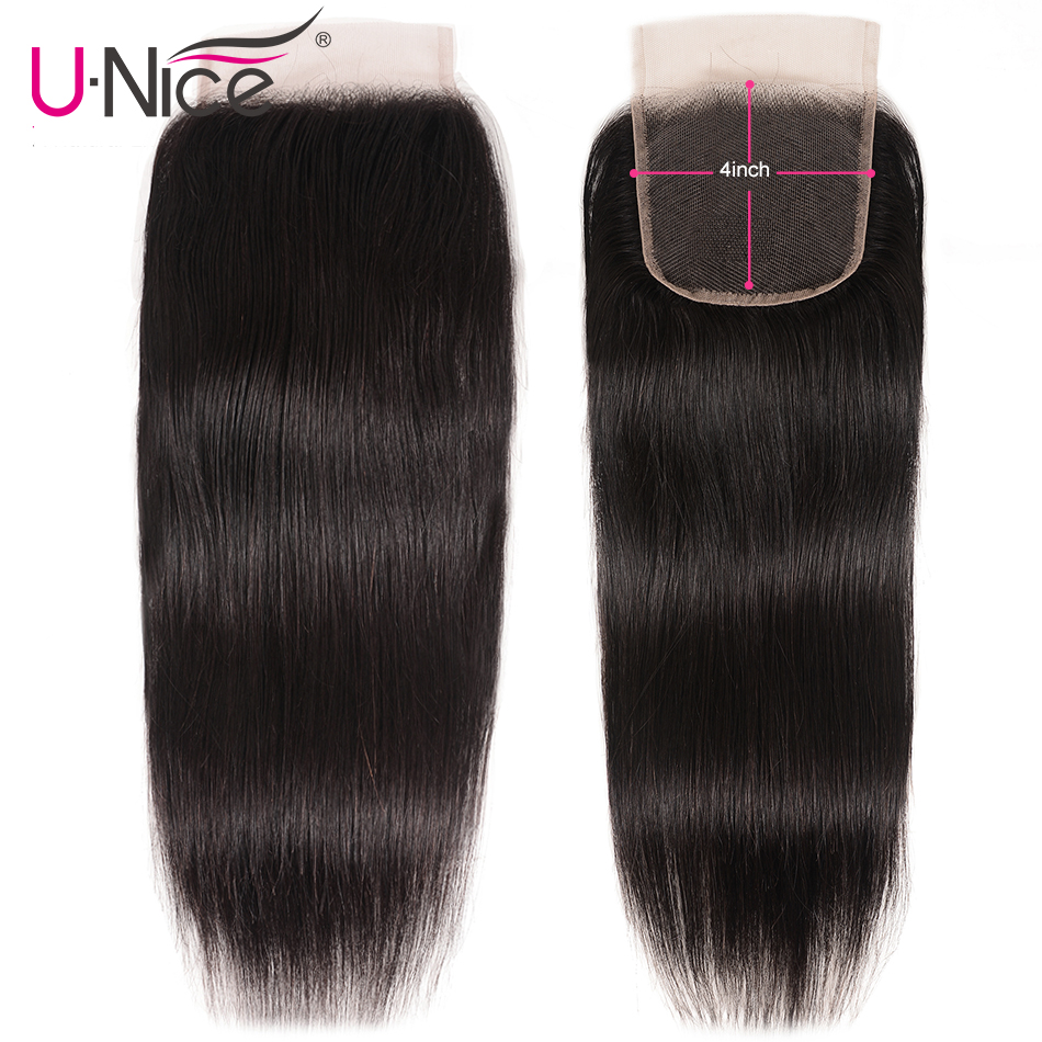 "UNice Hair Brazilian Straight Hair Closure Free &Middle &Three Part Remy Human Hair Lace Closure Swiss Lace 4""x4"" 1 Piece-in Closures from Hair Extensions & Wigs"