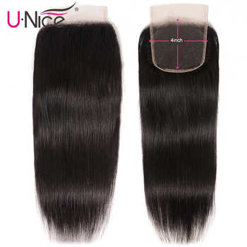 """UNice Hair Brazilian Straight Hair Closure Free &Middle &Three Part Remy Human Hair Lace Closure Swiss Lace 4\""""x4\"""" 1 Piece - Category 🛒 Hair Extensions & Wigs"""
