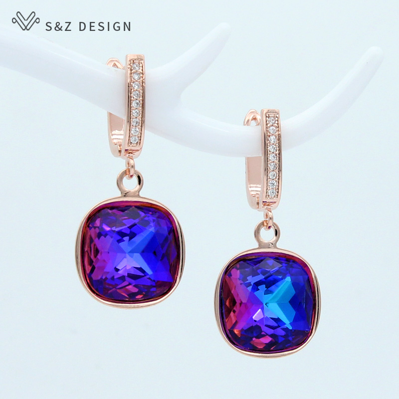 Gushion Drop Dangle Earrings for Women Austrian Crystal Jewelry Valentine Mother Present with Gift Box