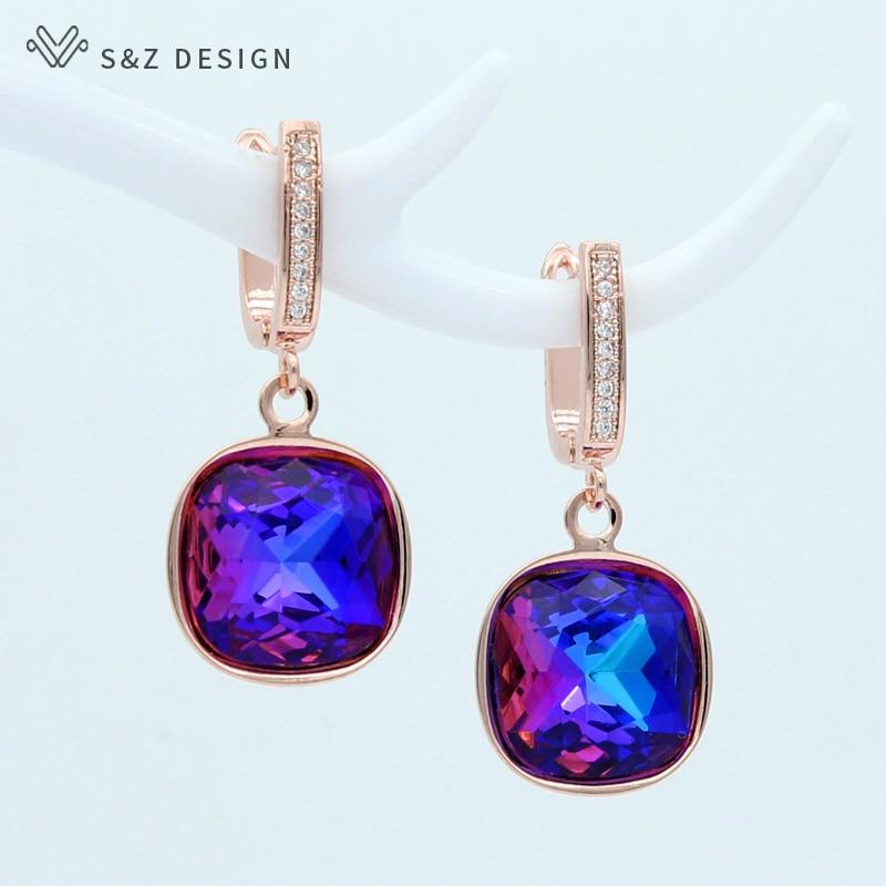 S&Z DESIGN Korean Fashion Elegant Colorful Square Crystal Dangle Earrings For Women Wedding Jewelry Gift 585 Rose Gold Eardrop