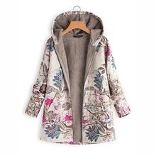 Зимнее повседневное пальто для беременных с цветочным принтом, теплая флисовая куртка с капюшоном для беременных женщин размера плюс, женская верхняя одежда с карманами, S-5XL
