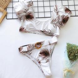 2020 nadruk w stylu vintage bikini dwuczęściowe wysokiej talii stroje kąpielowe kobiety strój kąpielowy tankini mujer strój kąpielowy Badpak dames 6