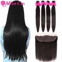 Paquets péruviens de cheveux droits avec frontale Miss Cara 100% Remy cheveux humains 3/4 paquets avec fermeture 13*4 frontale avec faisceaux