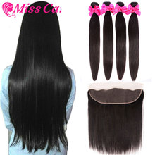 Peruvian Straight Hair Bundles With Frontal Miss Cara 100% Remy Human 3/4 Closure 13*4