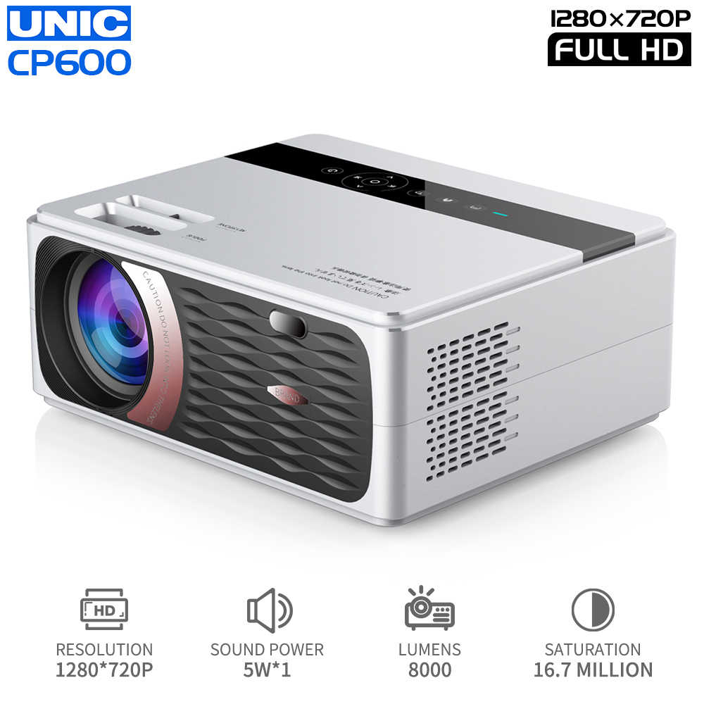 UNIC CP600 1280x720P LED 8000 Lumen Proiettore 1080P Full HD HDMI WIFI Bluetooth LCD Home Theater film Beamer Android Proyector