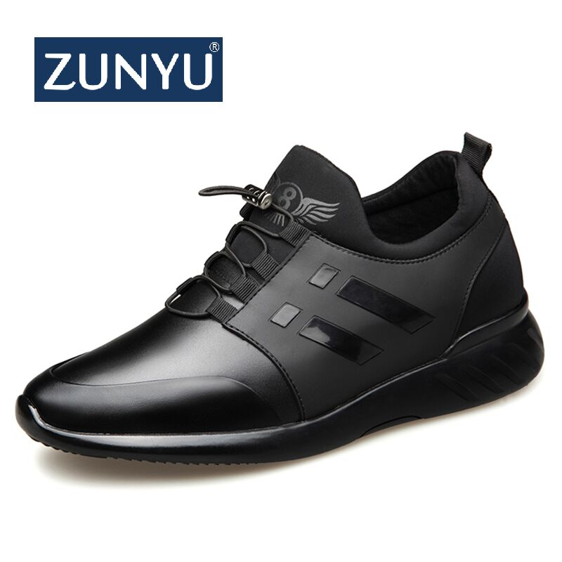 ZUNYU 2020 Men's Fashion Sneakers Man Casual Shoes Breathable Men Genuine Leather Shoes Big size Increasing Office Footwear 1