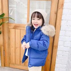 ¡Novedad de 2019! Chaqueta de plumón de pato blanco para niños de otoño e invierno, abrigo largo y medio con cuello de lana real