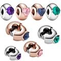 2021 neue 925 Sterling Silber Perlen 4 Farbe Herz Runde Solitaire Clip Charms Fit Ursprüngliche Pan Armband Frauen Schmuck DIY