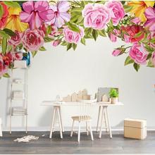 3d wallpaper custom mural photo European hand painted flowers rose living room d