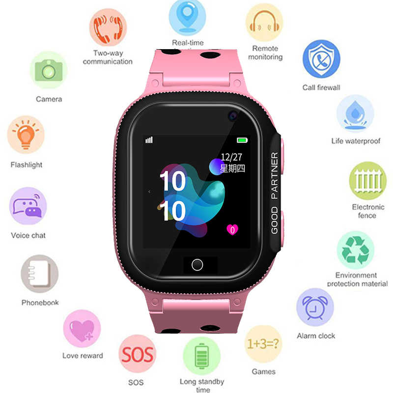 GEJIAN 2019 New Children Watches Micro SIM Card Baby Tracking Device Camera Anti-loss SOS Positioning Monitoring Alarm Clock