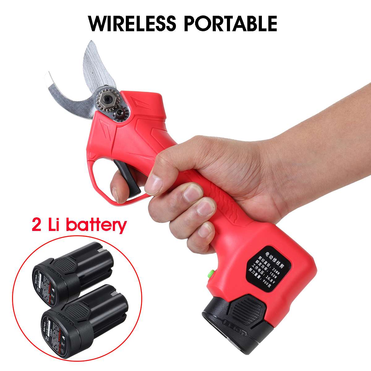 Wireless 16.8V 25mm Electric Garden Scissor for Brach Pruning with Li-ion Battery and USB Charger 9