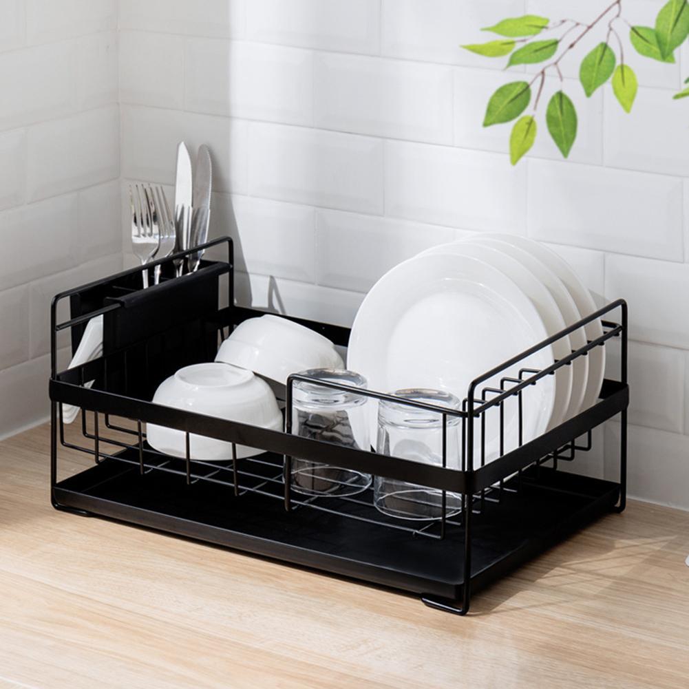 Kitchen Restaurant Dish Drainer Drying Rack Holder Plates Cup Tableware Bowl Shelf Classify Storage Basket