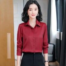 Camisa de seda pesada das mulheres camisas de manga longa para as mulheres blusa de cetim camisa de escritório senhora de cetim de seda camisas brancas superior plus size