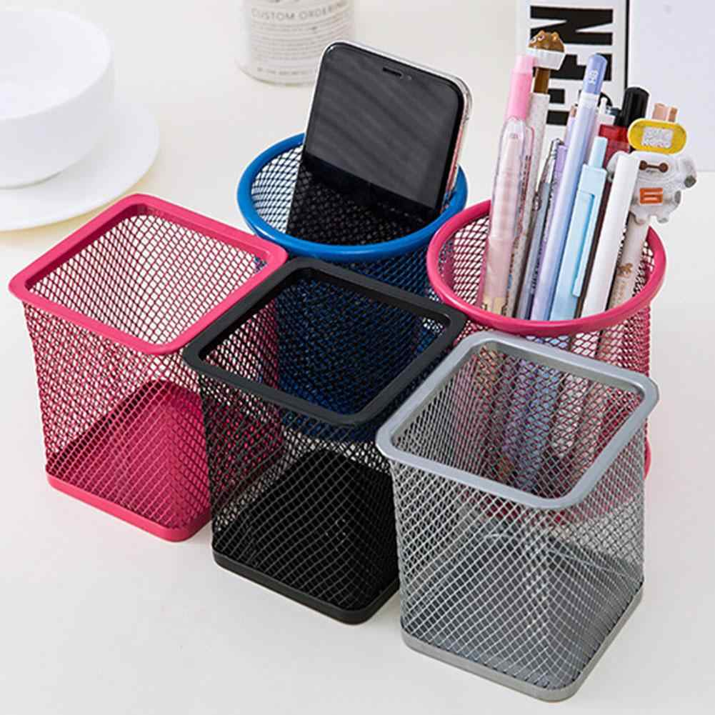 10cm Mesh Metal Pen Pencil Brush Pot Holder Storage Container Office Desk Organizer Office Storage Pencil Holder  the desk top.