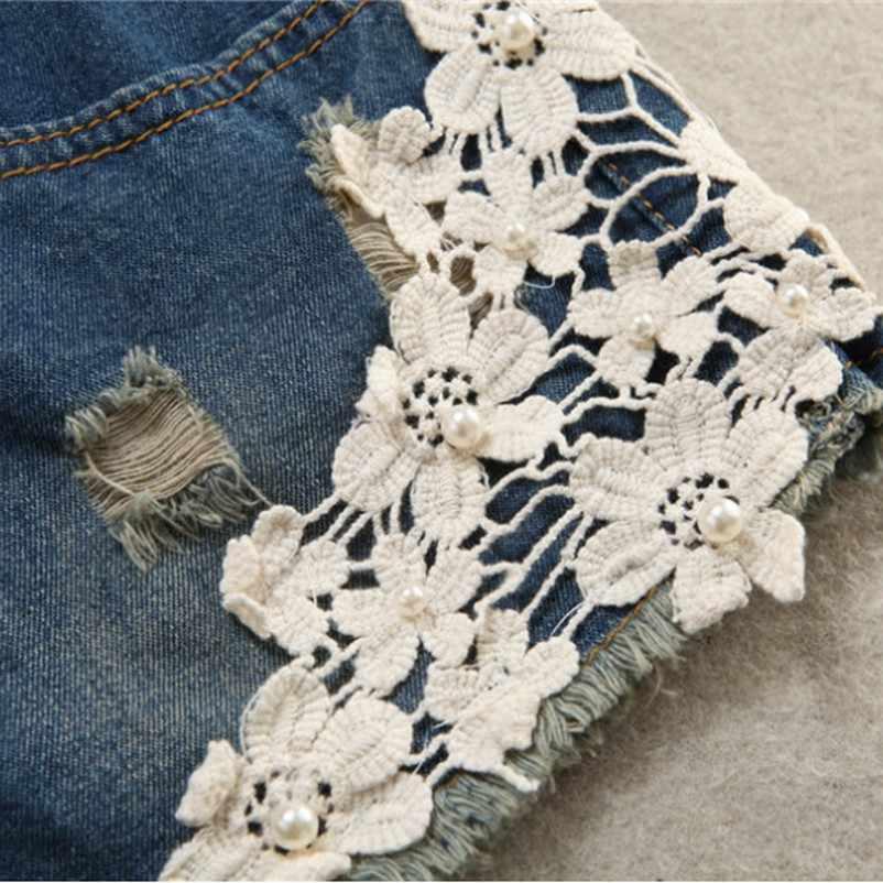 קיץ מכנסיים קצרים יולדות ג 'ינס תחרה הריון מכנסיים לנשים בהריון בגדי אלסטי בטן ג' ינס מכנסיים קצרים בתוספת גודל בגדים