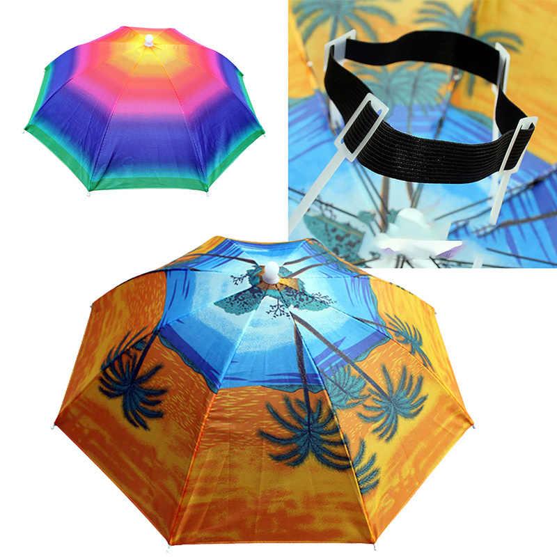 Portable Outdoor Olahraga 55 Cm Payung Topi Lipat Pria Wanita Payung Memancing Hiking Golf Pantai Hiasan Kepala Handsfree