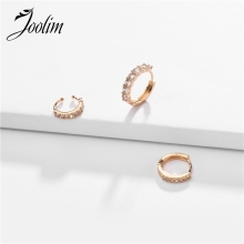 Joolim 3 pcs/set CZ Crystal Hoop Earring Cooper High End Fashion Jewelry Wholesale