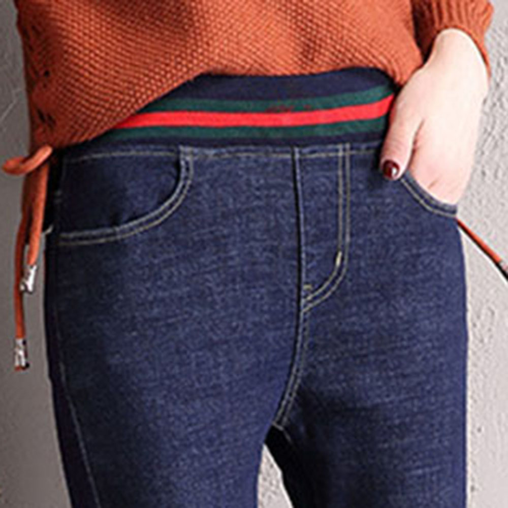 Winter Thick Warm Fleece Jeans Women Denim Jean High Waist Elastic Trousers Casual Pants Plus Size 5XL Blue Korean Fashion 2019