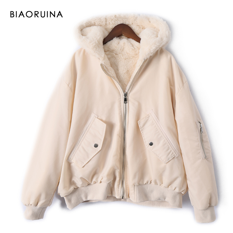 BIAORUINA Women's Reversible Fleece Patchwork Polyester Warm Thick Bomber Jacket Coat Autumn Winter Loose Hooded Short   Parkas