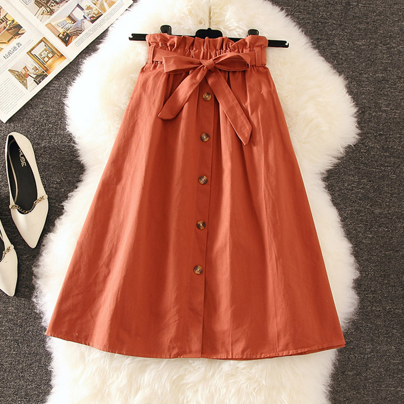 Caramel,Gray,Yellow Cotton Skirts Japanese Students Mori Girl Saia Women Single Breasted High Waist Knee-Length Skirts Buttons