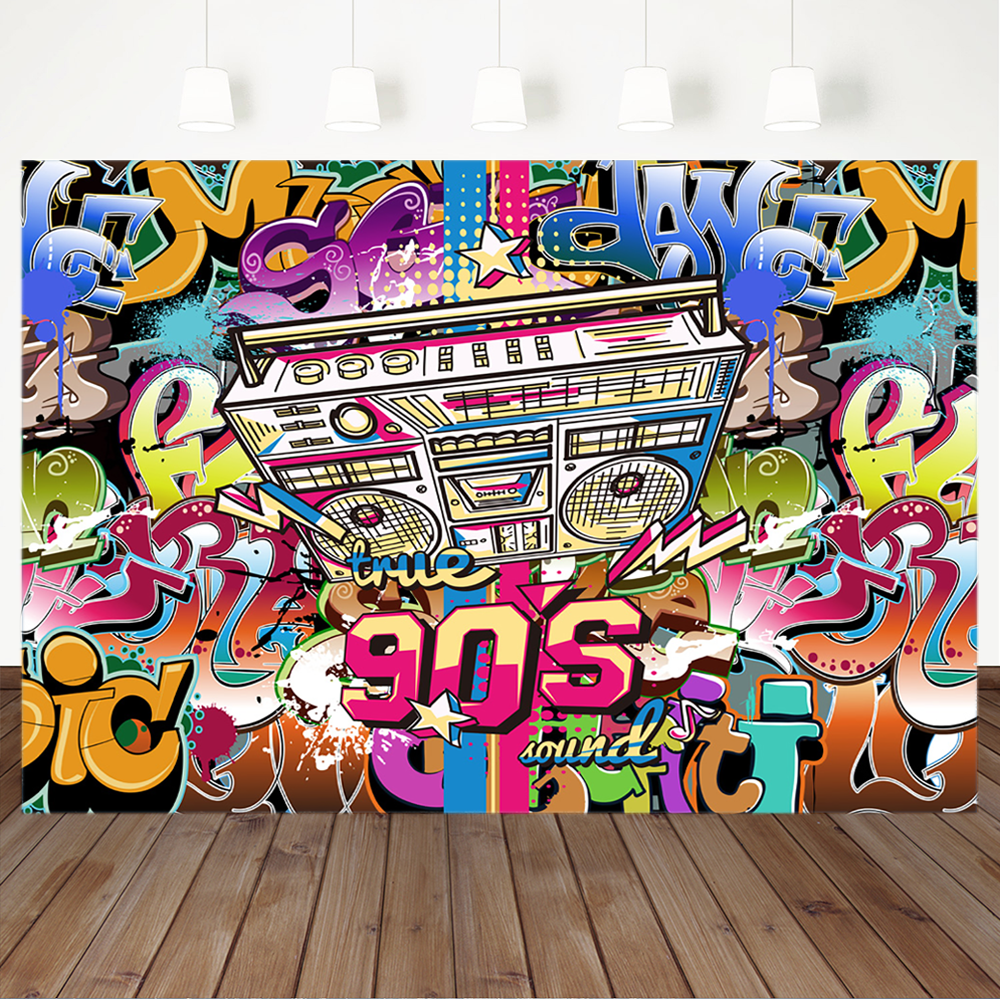 80 90 S Theme Birthday Backdrop Back To 90s Hi Pop Photography Background Music Graffiti Wall Birthday Party Banner Backdrops Aliexpress