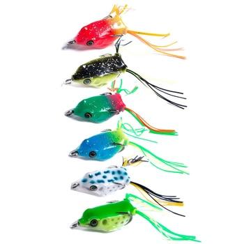 30PC soft tube bait japan plastic fishing lures frog lure treble hooks Topwater ray frog 4CM 4.8G artificial soft bait