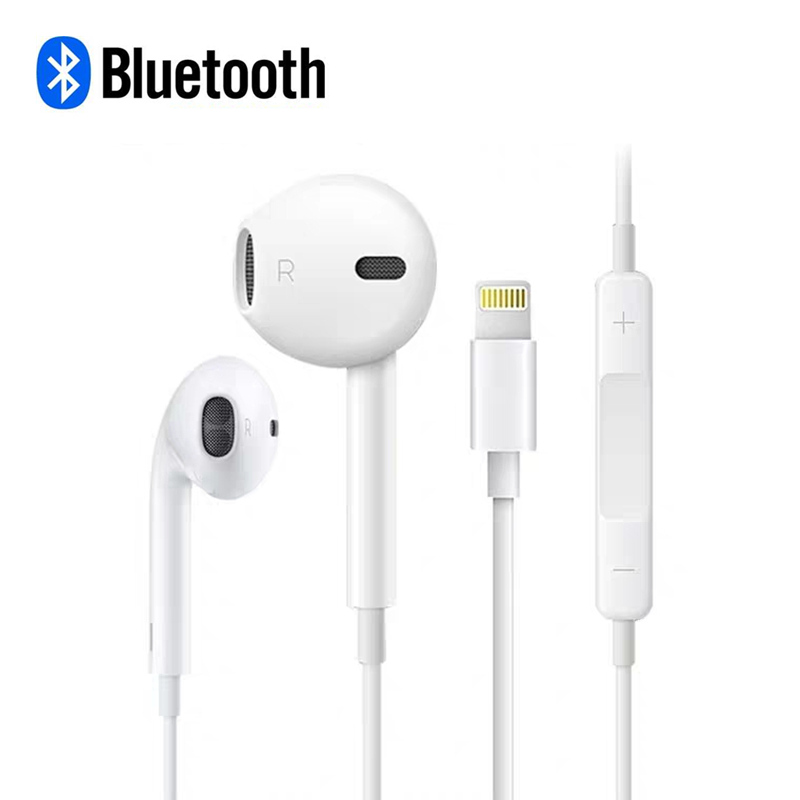 ( Bluetooth ) In Ear Earphone For IPhone 7 8 Plus X XR XS MAX 11 Pro Max Stereo Sound Wired Earbuds With Microphone Wire Control