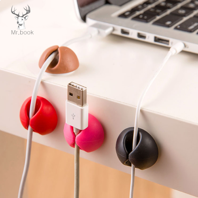 6pcs Desk Set Wire Clip Electrical Wire Fitted Hooks&Rails Data Cable Glands Winder Organizer Tie Mounts Office Storage