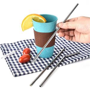 Reusable Metal Drinking Straws Brush Set Eco Friendly Drinking Straw Stainless Steel Sturdy Bent/Straight Drink Straw with Brush